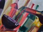 Red Wine Paintings - Wine Pour III by Donna Tuten