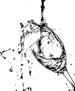 Red Wine Pouring Into Wineglass Prints - Wine Pour Splash in Black and White 2 Print by JC Kirk