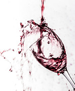 Red Wine Pouring Into Wineglass Prints - Wine Pour Splash in Color Print by JC Kirk