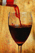 Pouring Wine Digital Art Prints - Wine pouring into glass painting Print by Magomed Magomedagaev