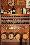 Vintage Red Wine Prints - Wine Rack In The Cellar Room At the Swiss Hotel In Sonoma California 5D24452 Print by Wingsdomain Art and Photography