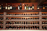 Vintage Red Wine Prints - Wine Rack In The Private Dining Room At the Swiss Hotel In Sonoma California 5D24461 Print by Wingsdomain Art and Photography