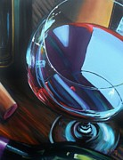 Red Wine Bottle Posters - Wine Reflections Poster by Donna Tuten