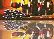 Glass Table Reflection Painting Prints - Wine Reflections Print by PainterArtist FIN