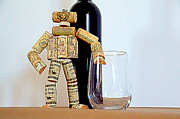 Red Wine Bottle Mixed Media Prints - Wine Robot Print by Relihan Art