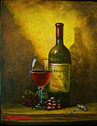 Italian Wine Painting Originals - Wine Shadow Ombra Di Vino by ITALIAN ART- Angelica