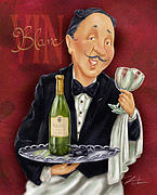 Waiter Mixed Media Metal Prints - Wine Sommelier Metal Print by Shari Warren
