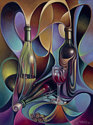 Bottles Paintings - Wine Spirits by Ricardo Chavez-Mendez