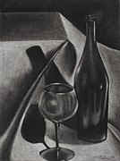 Glass Table Reflection Drawings Prints - Wine Still life Print by Michelle L Bolin