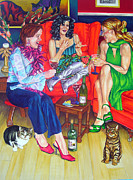 Red Cat Wine Prints - Wine Talk one Print by Louise Hallauer