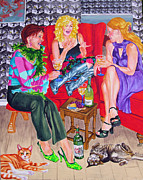 Red Cat Wine Prints - wine Talk two Print by Louise Hallauer