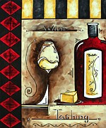 Cuisine Originals - WINE TASTING Original MADART Painting by Megan Duncanson