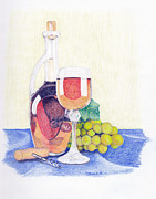 Wine Bottle Drawings Framed Prints - Wine Time Framed Print by Brandy House