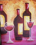 Wine Bottle Paintings - Wine Time by Brenda  Bell