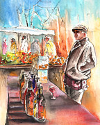 Red Wine Bottle Drawings Prints - Wine Vendor in A Provence Market Print by Miki De Goodaboom
