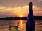 Riesling Posters - Wine Water Sunset Poster by Cindy Croal