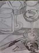 Wine Bottle Prints Drawings - Wine With Oysters by Michelle Reed
