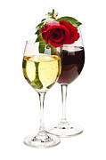 Valentines Day Posters - Wine with red rose Poster by Elena Elisseeva