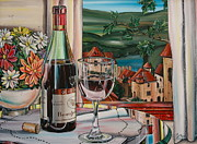 Tony Mezza Painting Posters - Wine With River View Poster by Anthony Mezza