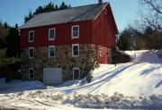 Red Barn In Winter Photos - Winery Barn in Winter by Desiree Paquette