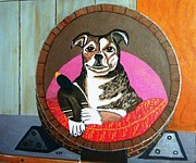 Wine Barrel Paintings - Winery Dog by Lynda NuernbergSmith