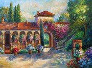 Wine Country Painting Posters - Winery in Tuscany Poster by Gina Femrite
