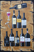 Old Map Painting Originals - Wines of Sicily by Randall Brewer