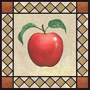 Fruit Paintings - Winesap Apple by Linda Mears