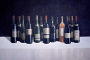 Red Wine Bottle Painting Posters - Winescape Poster by Lincoln Seligman