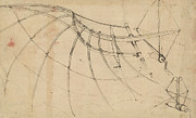 Ink Drawing Paintings - Wing covered with cloth and moved by means of crank winch below right detail of winch by Leonardo Da Vinci
