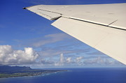 Kauai Island Posters - Wing of airplane leaving Poster by Sami Sarkis