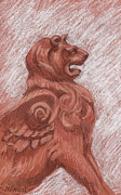 Lion Drawings Originals - Winged Lion by Sharon McNeil