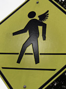 Crosswalk Prints - Winged Pedestrian Print by Bill Owen