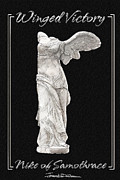 Statue Portrait Drawings Posters - Winged Victory - Nike of Samothrace Poster by Jerrett Dornbusch