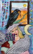 Sketchbook Mixed Media Prints - Winged Woman Print by Linda Marcille