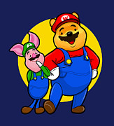 Geek Digital Art Prints - Winnie the Pooh and Piglet as Mario and Luigi Print by Olga Shvartsur