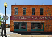 Town Posters - Winslow Arizona on Route 66 Poster by Christine Till