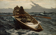 Rowboat Posters - Winslow Homer The Fog Warning Poster by Winslow Homer