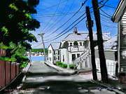 New England Ocean Drawings Prints - Winslow Street Print by Jean Pacheco Ravinski