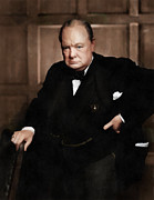 World Leader Digital Art Prints - Winston Churchill Print by Vincent Monozlay