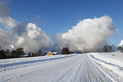 Snowy Road Metal Prints - Winter And Snow Clouds Metal Print by Christian Lagereek