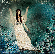 Folk Art Mixed Media - Winter Angel inspirational Christian Mixed Media painting  by Janelle Nichol