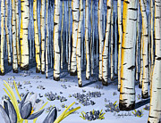 Snowy Night Paintings - Winter Aspen by Wendy Wilkins