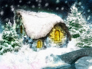 Stone Cottage Paintings - Winter Asylum by Mo T