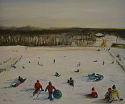 Winter Scene Paintings - Winter at Holmdel Park by Desiree  Rose
