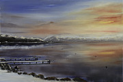 Snow Scene Painting Originals - Winter at Lake Tahoe. by Steven Ward