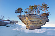 Winter At Port Austin's Turnip Rock Print by Craig Sterken