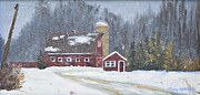 Snow Scene Paintings - Winter at Spring Creek Farm by Terry Anderson