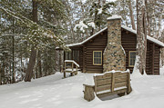 Stone Chimney Prints - Winter at the Cabin Print by Tim Grams
