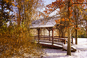 San Rafael Bridge Prints - Winter at the Covered Bridge Print by Janis Knight